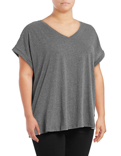 Lord & Taylor Boxy T-Shirt-GREY-2X