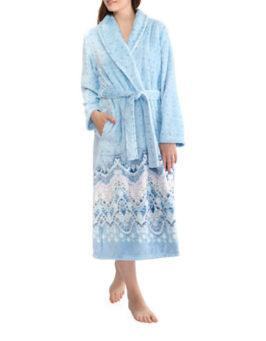 Jasmine Rose Plush Self-Tie Robe-GHOST BLUE-Small