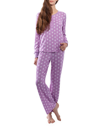 Jasmine Rose Leaves Pajamas-LAVENDER-X-Large