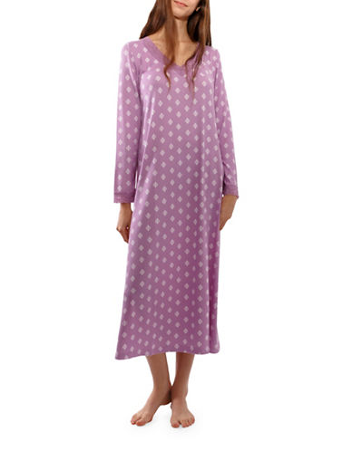 Jasmine Rose Long-Sleeve Night Gown-PURPLE-Small