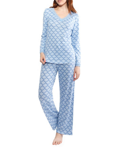 Jasmine Rose Floral Pajamas-GHOST BLUE-Medium