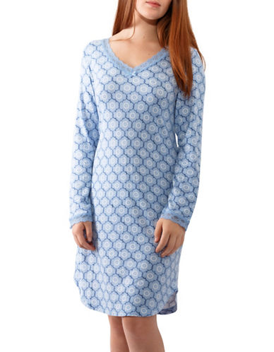 Jasmine Rose Long-Sleeve Night Gown-BLUE-Small