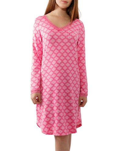 Jasmine Rose Long-Sleeve Night Gown-PINK-Medium