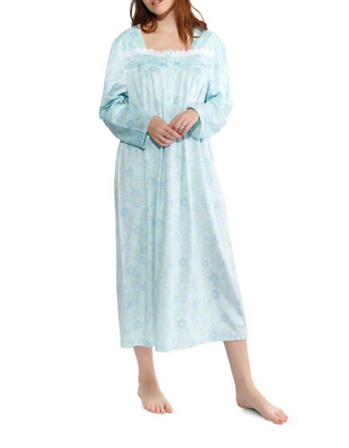 Jasmine Rose Floral Nightgown-BLUE-Large