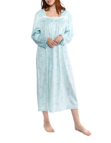 Jasmine Rose Plus Floral Nightgown-SOFT AQUA-2X