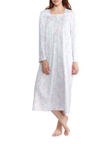 Jasmine Rose Plus Floral Nightgown-PURPLE-2X