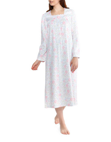 Jasmine Rose Plus Floral Nightgown-WHITE-1X