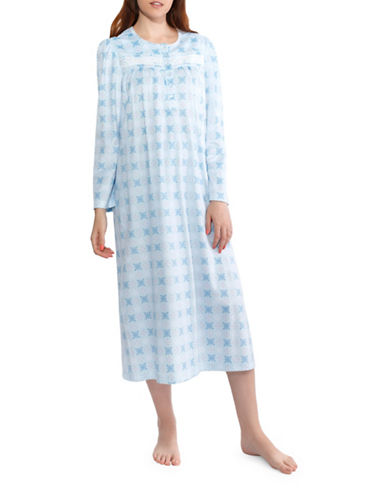 Jasmine Rose Floral Nightgown-SOFT BLUE-Small