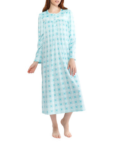 Jasmine Rose Floral Nightgown-BLUE-X-Large