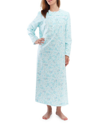 Jasmine Rose Floral Nightgown-AQUA-Large