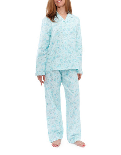 Jasmine Rose Floral Cotton Pajamas-SOFT AQUA-Large