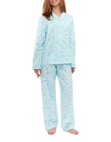 Jasmine Rose Floral Cotton Pajamas-SOFT AQUA-Small