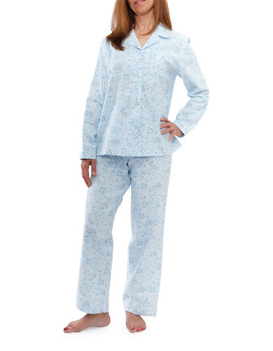 Jasmine Rose Floral Cotton Pajamas-SOFT BLUE-Large