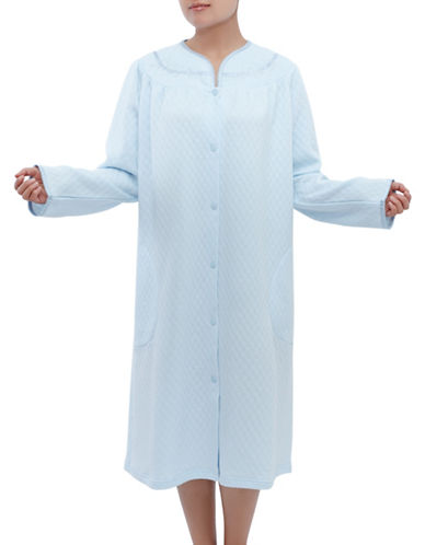 Jasmine Rose Plus Embroidered Snap Nightgown-SOFT BLUE-3X