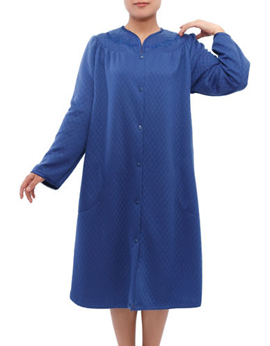 Jasmine Rose Plus Embroidered Snap Nightgown-BLUE-2X