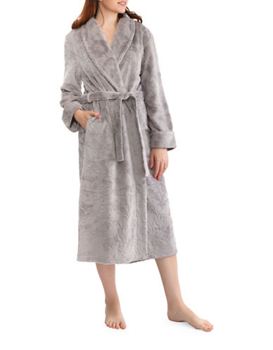 Jasmine Rose Floral Self-Tie Robe-WARM GREY-X-Large