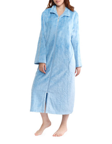 Jasmine Rose Floral Full-Zip Robe-GHOST BLUE-Large