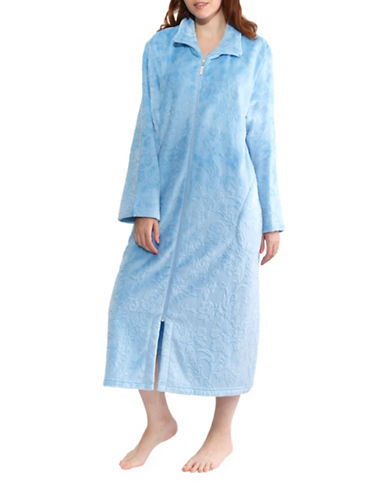 Jasmine Rose Floral Full-Zip Robe-GHOST BLUE-3X