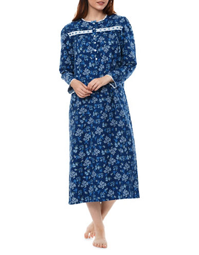 Jasmine Rose Floral Nightgown-BLUE-Medium