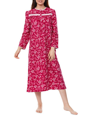 Jasmine Rose Floral Nightgown-RASBERRY-Small