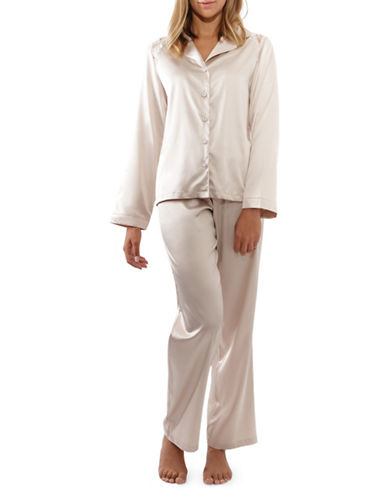 Jones New York Two-Piece Lace-Trimmed Satin Pyjama Set-MOSCATO-Small