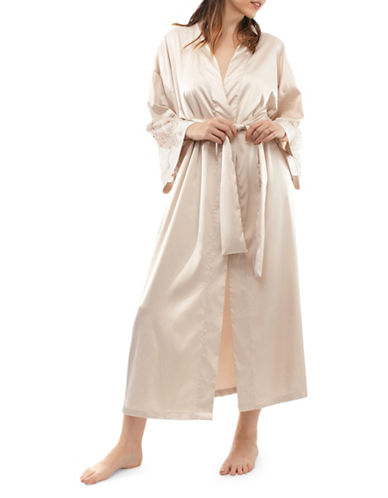 Jones New York Laced Kimono Robe-MOSCATO-Small/Medium