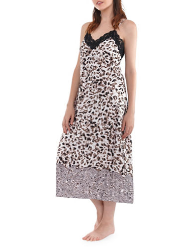 Jones New York Leopard Safari Nightgown-BUFF-Small