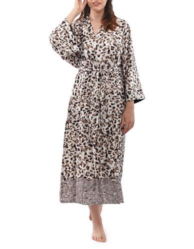 Jones New York Leopard-Print Kimono Robe-BUFF-Medium/Large
