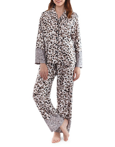 Jones New York Two-Piece Leopard Pyjama Set-BUFF-X-Large