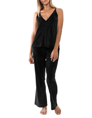 Jones New York Two-Piece Velour Camisole and Pants-BLACK-Large