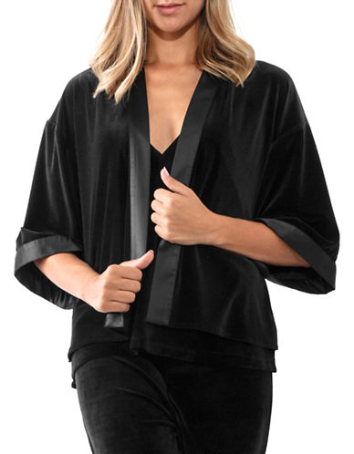 Jones New York Velvet Kimono-Sleeve Blazer-BLACK-Small/Medium