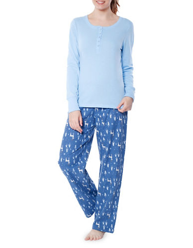 Jasmine Rose Contrasting Graphic Pajama Set-SAGA BLUE-Medium