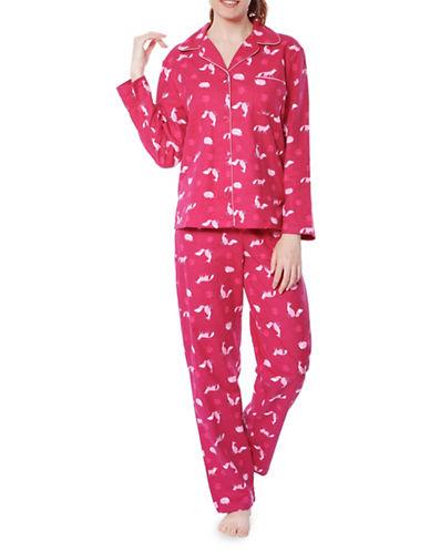 Jasmine Rose Cotton Fox Graphic Pajama Set-RASBERRY-Medium
