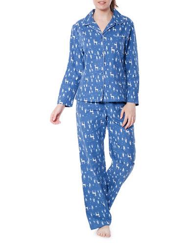 Jasmine Rose Cotton Deer Pajama Set-SAGA BLUE-Medium