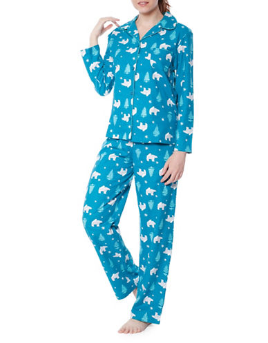 Jasmine Rose Polar Bear Print Pajama Set-PEACOCK-Large