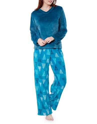 Jasmine Rose Plush and Graphic Pajama Set-PEACOCK-Medium