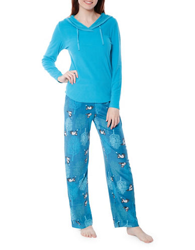 Jasmine Rose Racoon Graphic Pajama Set-WATER-Large
