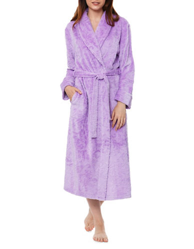 Jasmine Rose Embossed Vine Plush Robe-PURPLE-X-Large