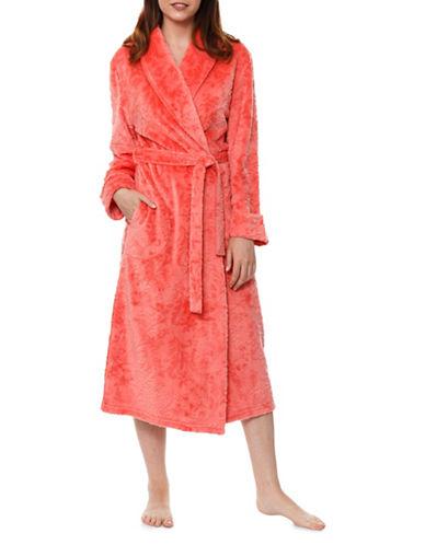 Jasmine Rose Embossed Vine Plush Robe-ORANGE-Small