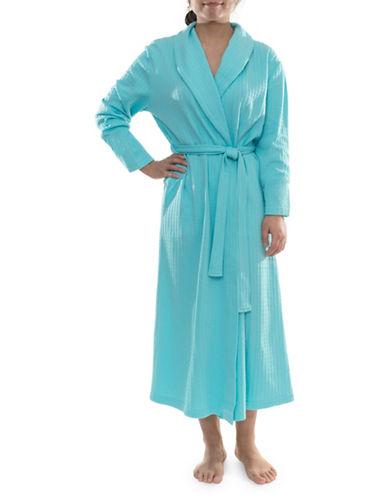 Jasmine Rose Textured Wrap Robe-BRIGHT AQUA-Small