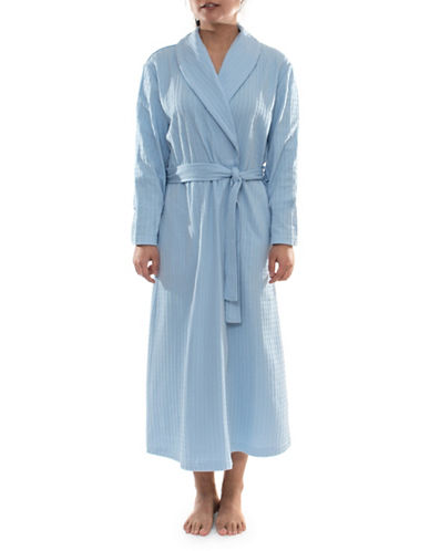 Jasmine Rose Textured Wrap Robe-BLUE-Medium