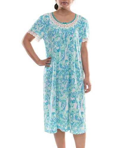 Jasmine Rose Floral Pleated Nightgown-AQUA-X-Large