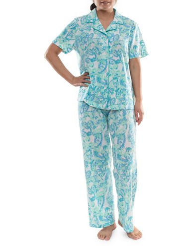 Jasmine Rose Two-Piece Floral Pleated Pajama Set-AQUA-X-Large