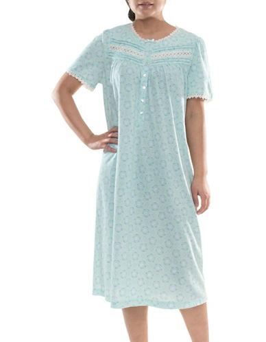 Jasmine Rose Printed Ballet Nightgown-AQUA-Large