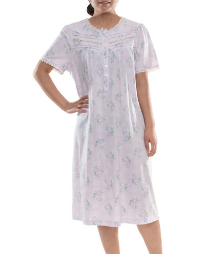 Jasmine Rose Printed Ballet Nightgown-LILAC-X-Large
