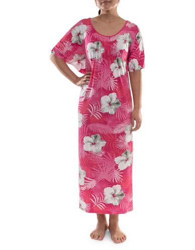 Jasmine Rose Plus Floral Pleated Caftan-PINK-2X