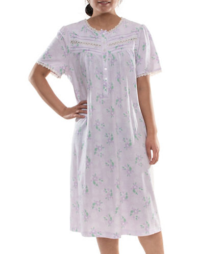 Jasmine Rose Plus Floral Pleated Nightgown-LILAC-3X