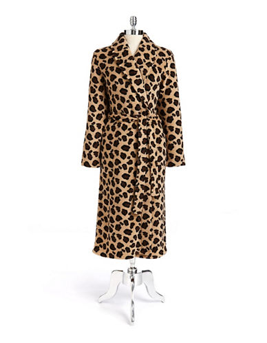 Jasmine rose Leopard Print Shawl Robe brown Large