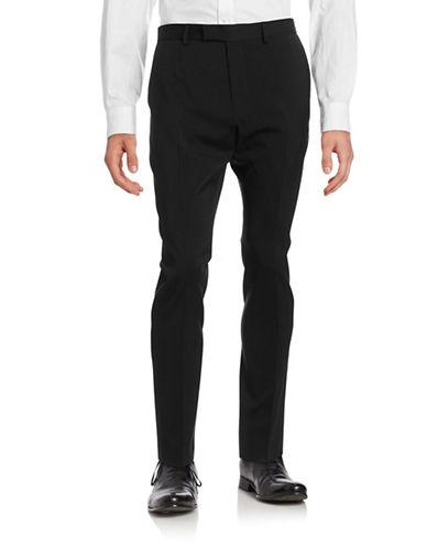 Strellson Faux Leather Trim Dress Pants-BLACK-42