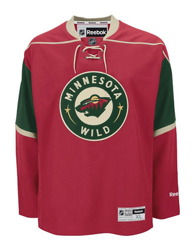 Reebok Minnesota Wild NHL Premier Home Jersey T-Shirt-RED-Large